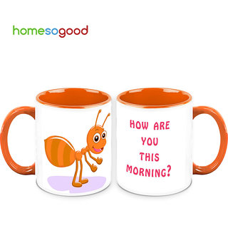 HomeSoGood How Are You This Morning Coffee Mugs (2 Mugs) (HOMESGMUG714-A)