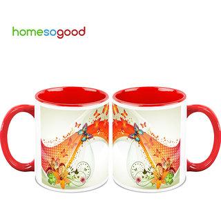 HomeSoGood Butterflies On Their Way Coffee Mugs (2 Mugs) (HOMESGMUG755-A)