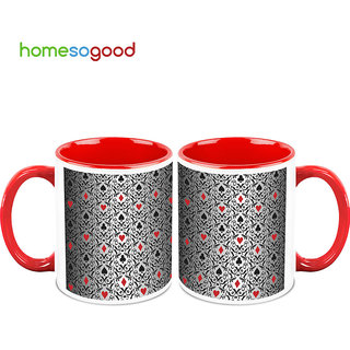 HomeSoGood The Game Of Cards Coffee Mugs (2 Mugs) (HOMESGMUG737-A)