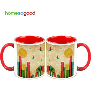 HomeSoGood City Life Coffee Mugs (2 Mugs) (HOMESGMUG751-A)