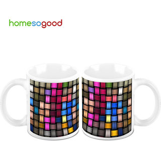 HomeSoGood Colorful Weaving Coffee Mugs (2 Mugs) (HOMESGMUG683-A)