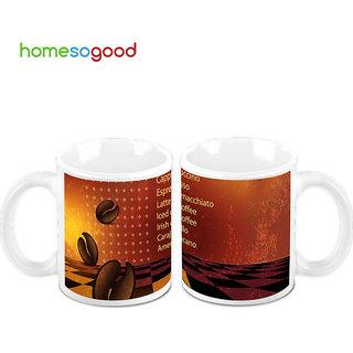 HomeSoGood Dancing Coffee Beans Creamic Coffee Mugs (2 Mugs) (HOMESGMUG458-A)