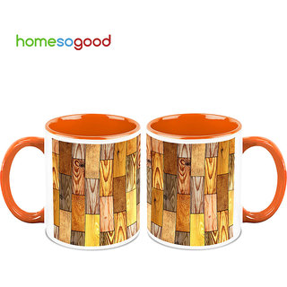 HomeSoGood Original Wooden Piece Coffee Mugs (2 Mugs) (HOMESGMUG687-A)