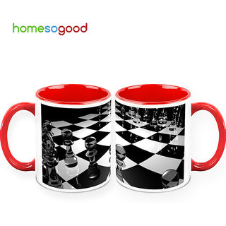 HomeSoGood Check Mate Coffee Mugs (2 Mugs) (HOMESGMUG394-A)
