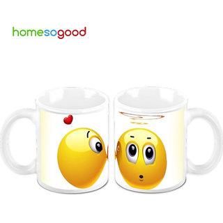 HomeSoGood He is Totally Awestruck Creamic Coffee Mugs (2 Mugs) (HOMESGMUG474-A)