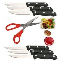Steel Multipurpose Scissors & 6 Pc Steak Knife Set