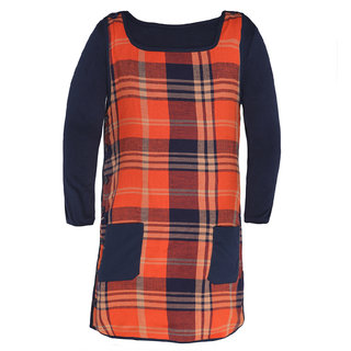 ChipChop Orange Checkered Party wear Dresses for Girls