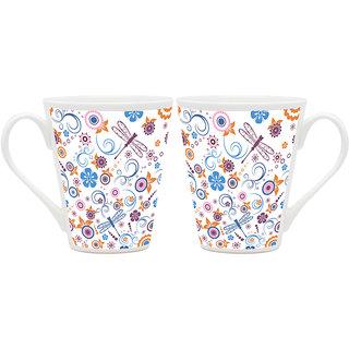 HomeSoGood Awesome Pattern Of Design Art White Ceramic Latte Coffee Mug - 355 ml (Set Of 2 ) (BHOMESGMUGB324-A)