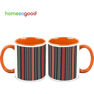 HomeSoGood Impeccable Curtain Design Coffee Mugs (2 Mugs) (HOMESGMUG692-A)