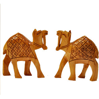 Home Rajasthan Hand Carved Wooden Camel Pair Handicraft Gift Wooden Handicraft