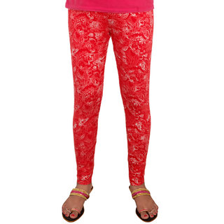 Nzuri Ankle Length Viscose Lycra Leggings Red Paisly Print