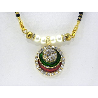 Swar Black And Gold Mangalsutra With A Round Pendant With Diamond And Kundan Stones