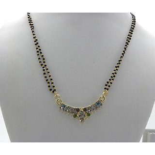 Swar Black And Gold Mangalsutra With A White Blue And Green Colour Diamond Pendant