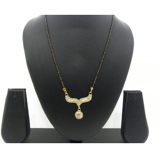Swar Dark Black And Gold Mangalsutra With A Diamond Pendant