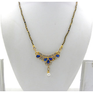 Swar Black And Gold Mangalsutra With A White And Blue Diamond Pendant