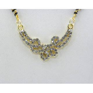 Swar Elegant Black And Gold Mangalsutra With A Diamond Pendant