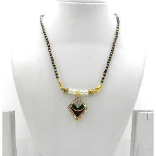 Swar Black And Gold Mangalsutra With A Square Shaped Pendant With Diamonds And Red And Green Stones