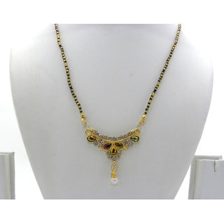 Swar Black And Gold Mangalsutra With Multi Coloured Diamond Pendant