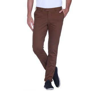 Grasim  Slim Fit Cotton Dk. Brown Mens Chinos