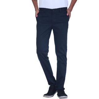 Grasim  Slim Fit Cotton Navy Mens Chinos