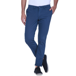 Grasim  Slim Fit Cotton Blue Mens Chinos