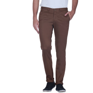 Grasim  Slim Fit Cotton Bronz Mens Chinos