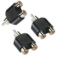 2 RCA Female to 1 RCA Male Connector - Plastic Molded - Pack of 3