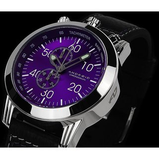 Android Dynamic AD666APU 48MM Chronograph Swiss Quartz Purple Dial Black Leather