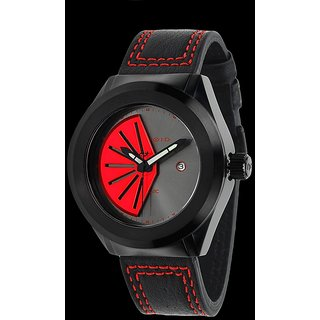 Android AD739BKR Rotator 50MM Automatic Red Dial Black Leather Band Watch