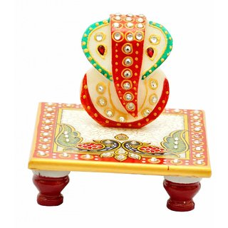 marwal Beautiful Designer Gold Embossed Chowki Ganesha