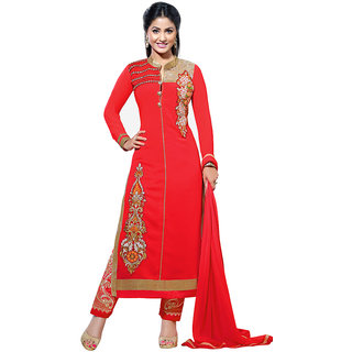 Parisha Khaki Cotton Embroidered Salwar Suit Dress Material