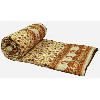 Marwal Brown Jaipuri Hand Made Block Print  Double Bed Quilts