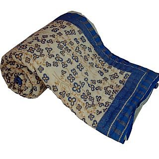 Marwal Jaipuri Gold Print Cotton Double Razai Quilt