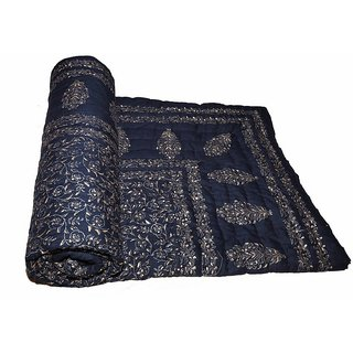 Marwal Blue Jaipuri Hand Made Block Print  Singal Bed Quilts  RCM3018