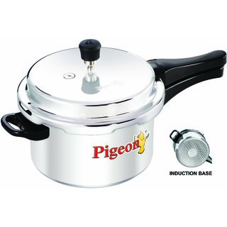 Pigeon 5000 ml Aluminum Pressure Cooker Favorite + Outer Lid(12093) Silver