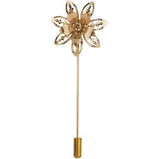 KNIGHTHOOD Classic Golden Flower Lapel Pin / Brooch For Men