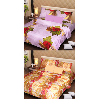 Akash Ganga Beautiful Combo of 2 Double Bedsheets with 4 Pillow Covers (AG1163)
