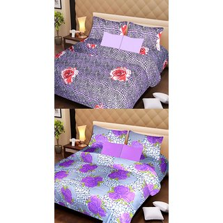 Akash Ganga Beautiful Combo of 2 Double Bedsheets with 4 Pillow Covers (AG1166)