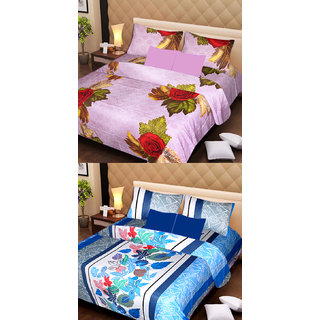 Akash Ganga Beautiful Combo of 2 Double Bedsheets with 4 Pillow Covers (AG1173)