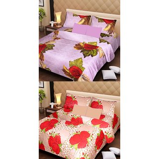 Akash Ganga Beautiful Combo of 2 Double Bedsheets with 4 Pillow Covers (AG1174)