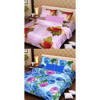 Akash Ganga Beautiful Combo of 2 Double Bedsheets with 4 Pillow Covers (AG1175)