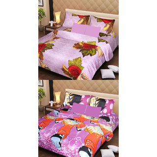 Akash Ganga Beautiful Combo of 2 Double Bedsheets with 4 Pillow Covers (AG1176)
