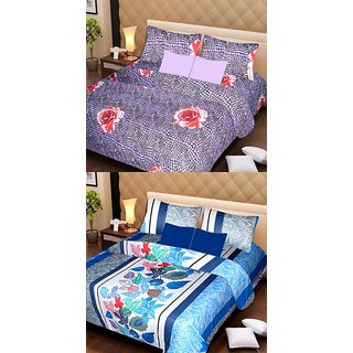 Akash Ganga Beautiful Combo of 2 Double Bedsheets with 4 Pillow Covers (AG1181)