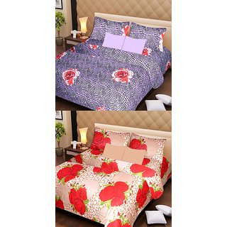 Akash Ganga Beautiful Combo of 2 Double Bedsheets with 4 Pillow Covers (AG1182)