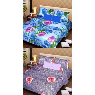Akash Ganga Beautiful Combo of 2 Double Bedsheets with 4 Pillow Covers (AG1183)