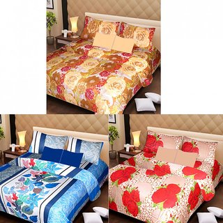 Akash Ganga Beautiful Combo of 3 Double Bedsheets with 6 Pillow Covers (AG1190)