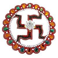 Unique Arts Beautiful Swastik Design Acrylic Rangoli With Diya For Diwali