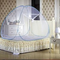 ans canopy style double bed mosquito net blue