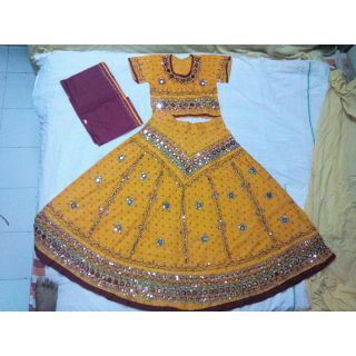 Navratri Special Chaniya Choli for Adults - Free Size (Yellow)