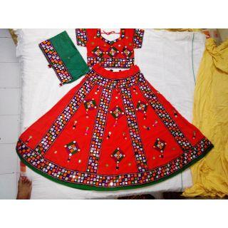 Navratri Special Chaniya Choli for Adults - Free Size (Orange)